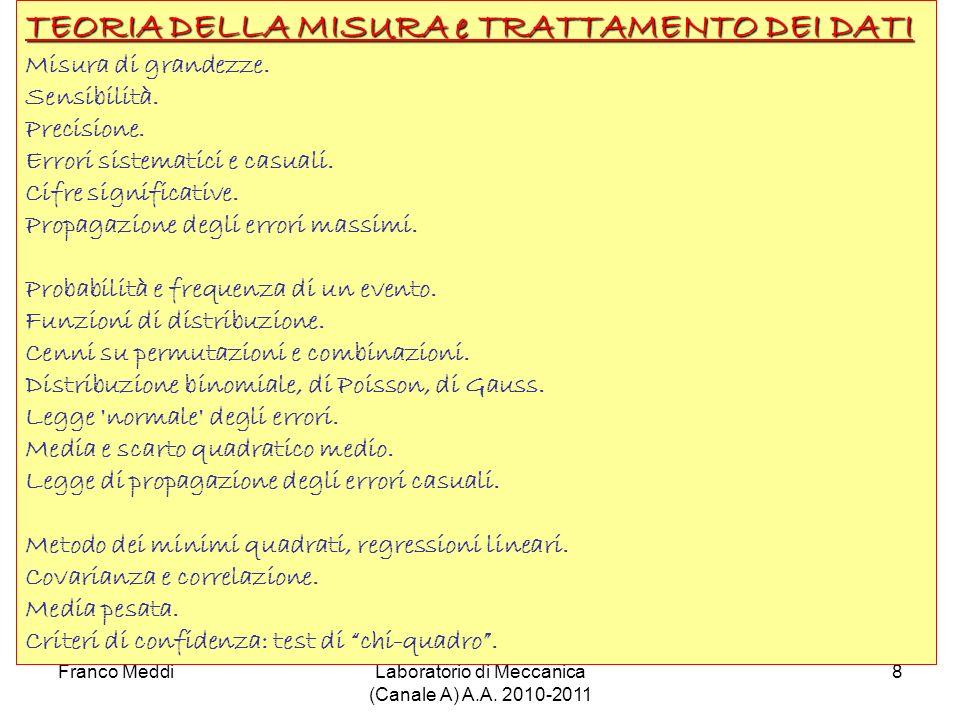 Franco MeddiLaboratorio di Meccanica (Canale A) A.A. 2010-2011 8 TEORIA DELLA MISURA e TRATTAMENTO DEI DATI Misura di grandezze. Sensibilità. Precisio
