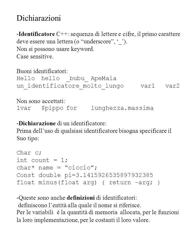 Dichiarazioni -Identificatore C++: sequenza di lettere e cifre, il primo carattere deve essere una lettera (o underscore, _). Non si possono usare key