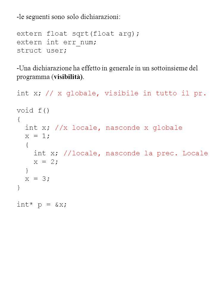 -le seguenti sono solo dichiarazioni: extern float sqrt(float arg); extern int err_num; struct user; -Una dichiarazione ha effetto in generale in un s