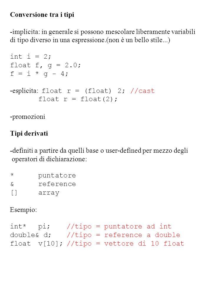 Conversione tra i tipi -implicita: in generale si possono mescolare liberamente variabili di tipo diverso in una espressione.(non è un bello stile...)