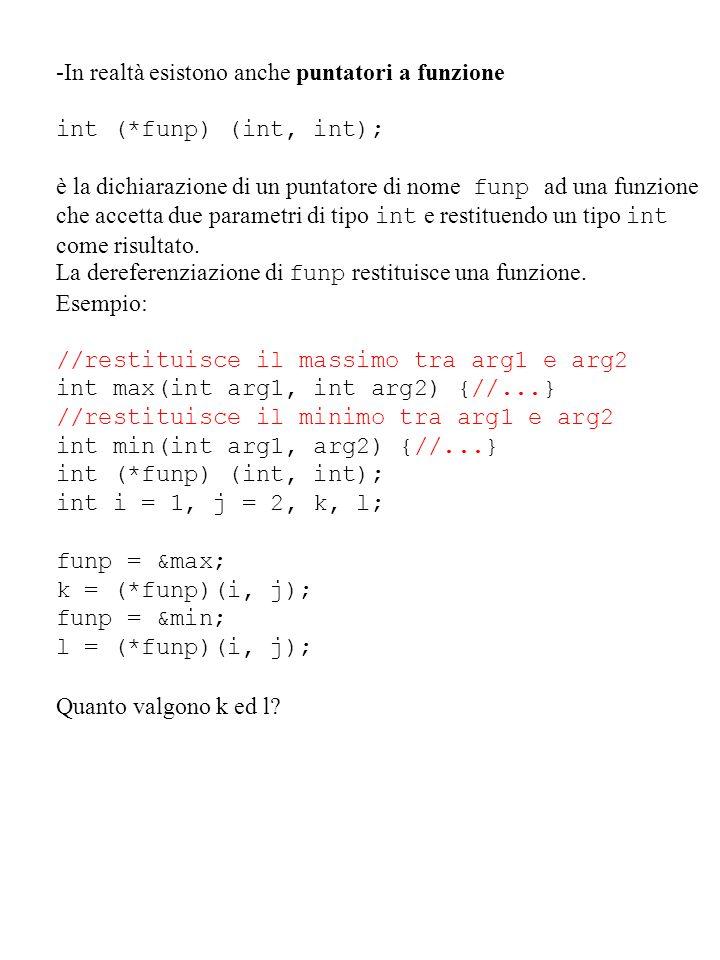 -In realtà esistono anche puntatori a funzione int (*funp) (int, int); è la dichiarazione di un puntatore di nome funp ad una funzione che accetta due