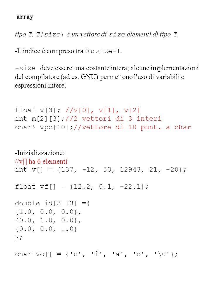 array tipo T, T[size] è un vettore di size elementi di tipo T. -L'indice è compreso tra 0 e size-1. -size deve essere una costante intera; alcune impl