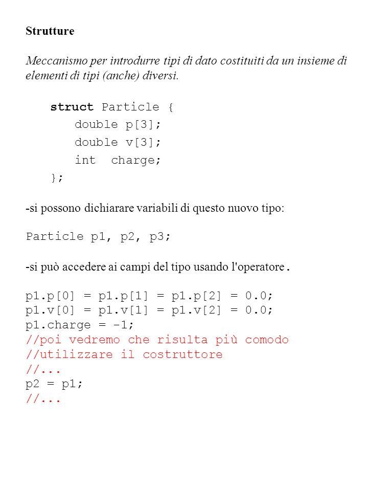 Strutture Meccanismo per introdurre tipi di dato costituiti da un insieme di elementi di tipi (anche) diversi. struct Particle { double p[3]; double v