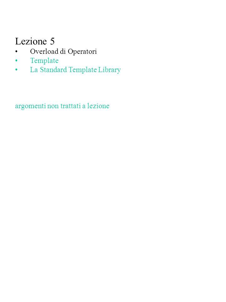 Lezione 5 Overload di Operatori Template La Standard Template Library argomenti non trattati a lezione