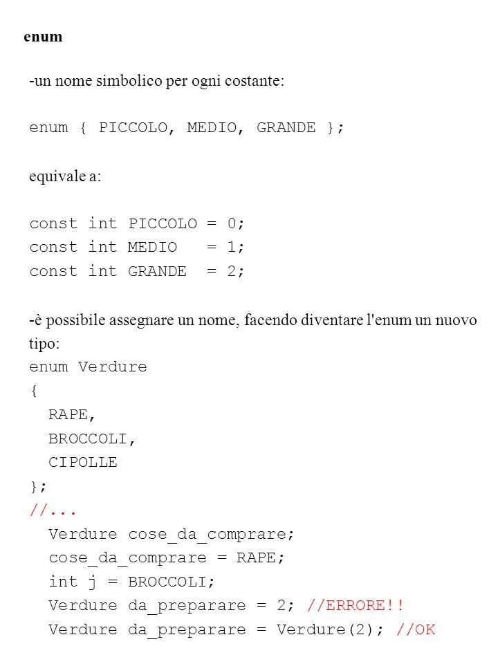 -un nome simbolico per ogni costante: enum { PICCOLO, MEDIO, GRANDE }; equivale a: const int PICCOLO = 0; const int MEDIO = 1; const int GRANDE = 2; -