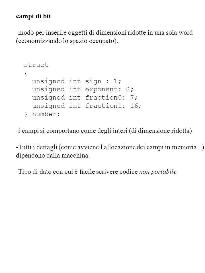 campi di bit -modo per inserire oggetti di dimensioni ridotte in una sola word (economizzando lo spazio occupato). struct { unsigned int sign : 1; uns