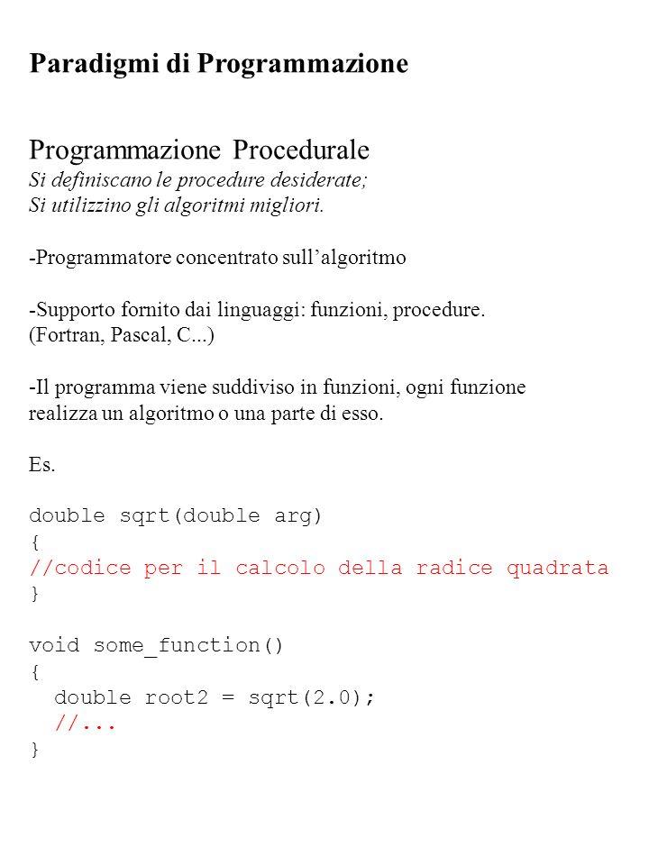 Paradigmi di Programmazione Programmazione Procedurale Si definiscano le procedure desiderate; Si utilizzino gli algoritmi migliori. -Programmatore co
