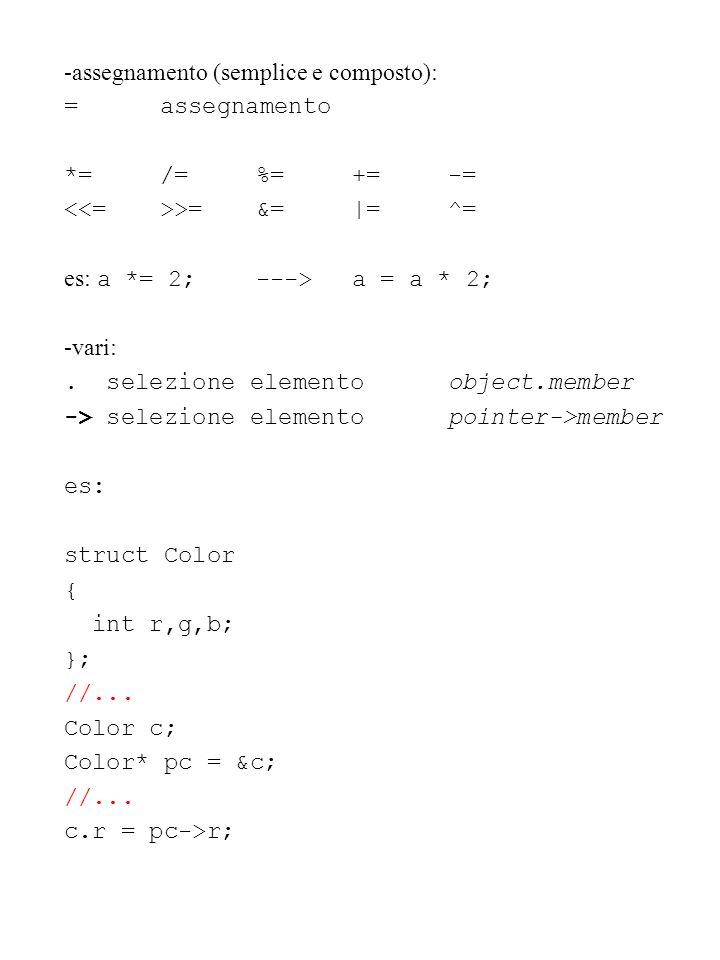 -assegnamento (semplice e composto): =assegnamento *=/=%=+=-= >=&=|=^= es: a *= 2;--->a = a * 2; -vari:. selezione elementoobject.member -> selezione