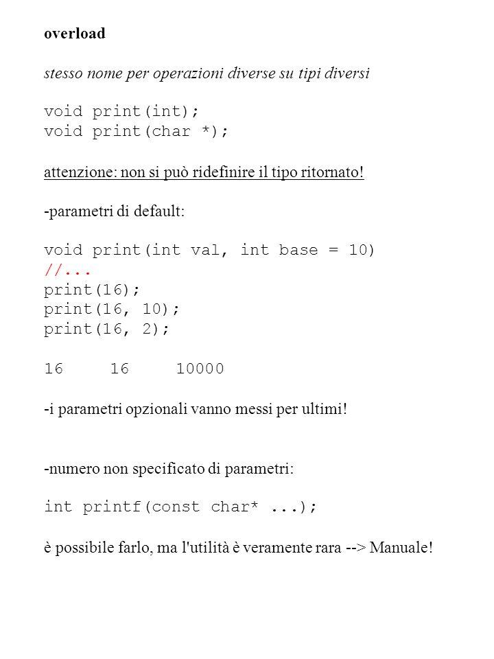 overload stesso nome per operazioni diverse su tipi diversi void print(int); void print(char *); attenzione: non si può ridefinire il tipo ritornato!