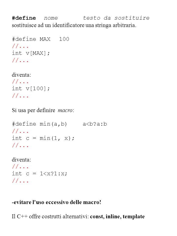 #define nometesto da sostituire sostituisce ad un identificatore una stringa arbitraria. #define MAX100 //... int v[MAX]; //... diventa: //... int v[1