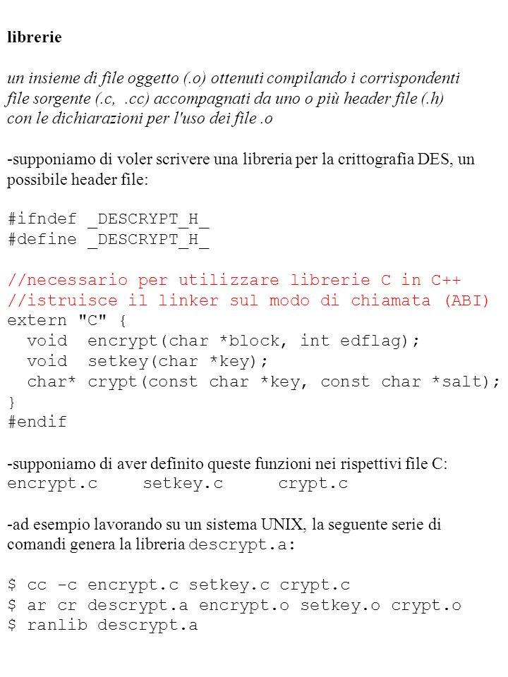 librerie un insieme di file oggetto (.o) ottenuti compilando i corrispondenti file sorgente (.c,.cc) accompagnati da uno o più header file (.h) con le