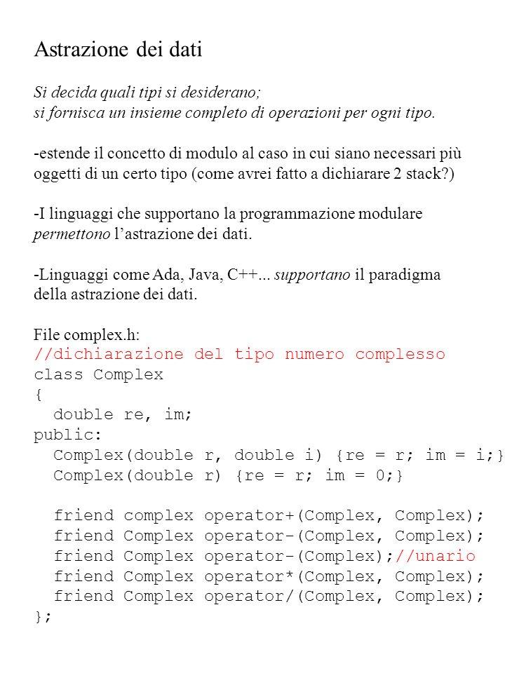 Astrazione dei dati Si decida quali tipi si desiderano; si fornisca un insieme completo di operazioni per ogni tipo. -estende il concetto di modulo al