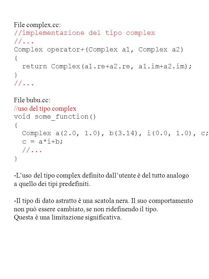 File complex.cc: //implementazione del tipo complex //... Complex operator+(Complex a1, Complex a2) { return Complex(a1.re+a2.re, a1.im+a2.im); } //..