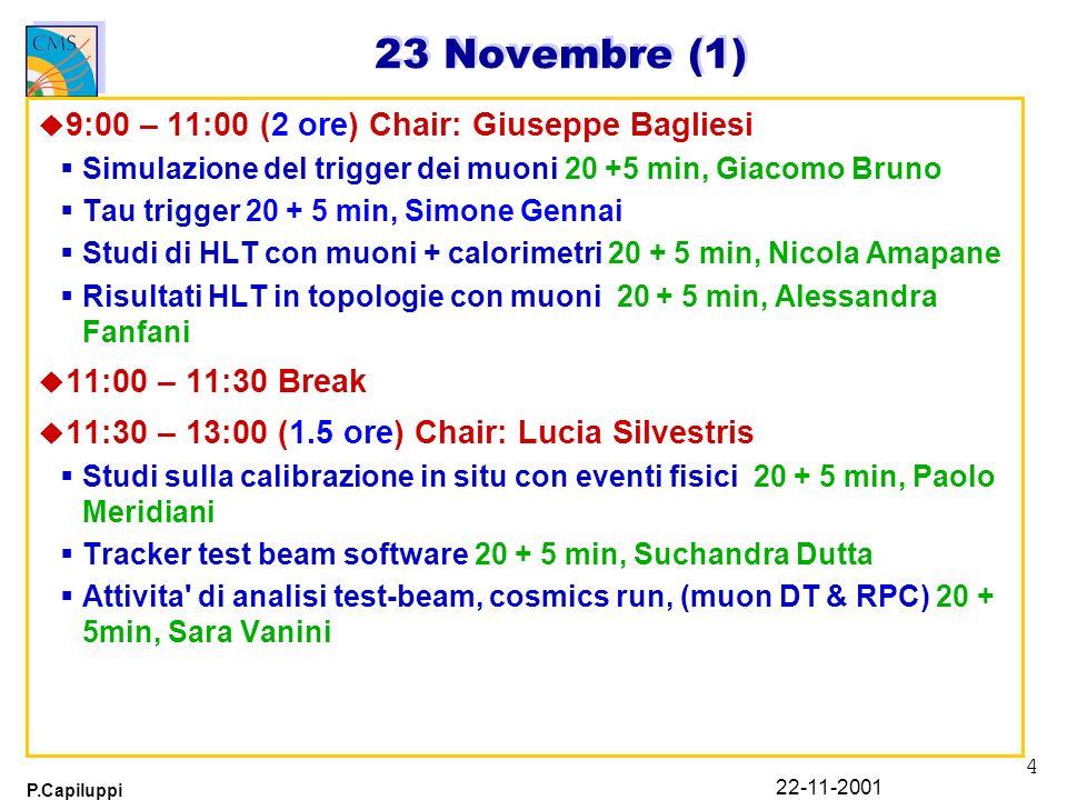4 P.Capiluppi 22-11-2001 23 Novembre (1) u 9:00 – 11:00 (2 ore) Chair: Giuseppe Bagliesi Simulazione del trigger dei muoni 20 +5 min, Giacomo Bruno Tau trigger 20 + 5 min, Simone Gennai Studi di HLT con muoni + calorimetri 20 + 5 min, Nicola Amapane Risultati HLT in topologie con muoni 20 + 5 min, Alessandra Fanfani u 11:00 – 11:30 Break u 11:30 – 13:00 (1.5 ore) Chair: Lucia Silvestris Studi sulla calibrazione in situ con eventi fisici 20 + 5 min, Paolo Meridiani Tracker test beam software 20 + 5 min, Suchandra Dutta Attivita di analisi test-beam, cosmics run, (muon DT & RPC) 20 + 5min, Sara Vanini