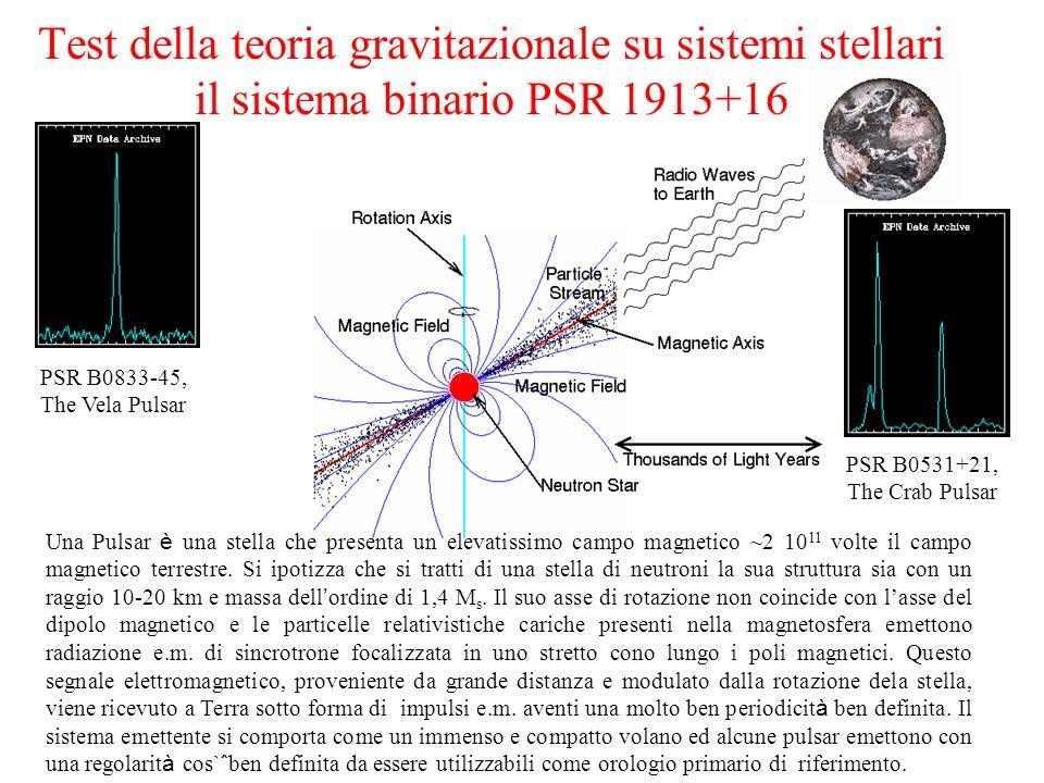 Test della teoria gravitazionale su sistemi stellari il sistema binario PSR 1913+16 PSR B0833-45, The Vela Pulsar PSR B0531+21, The Crab Pulsar Una Pu