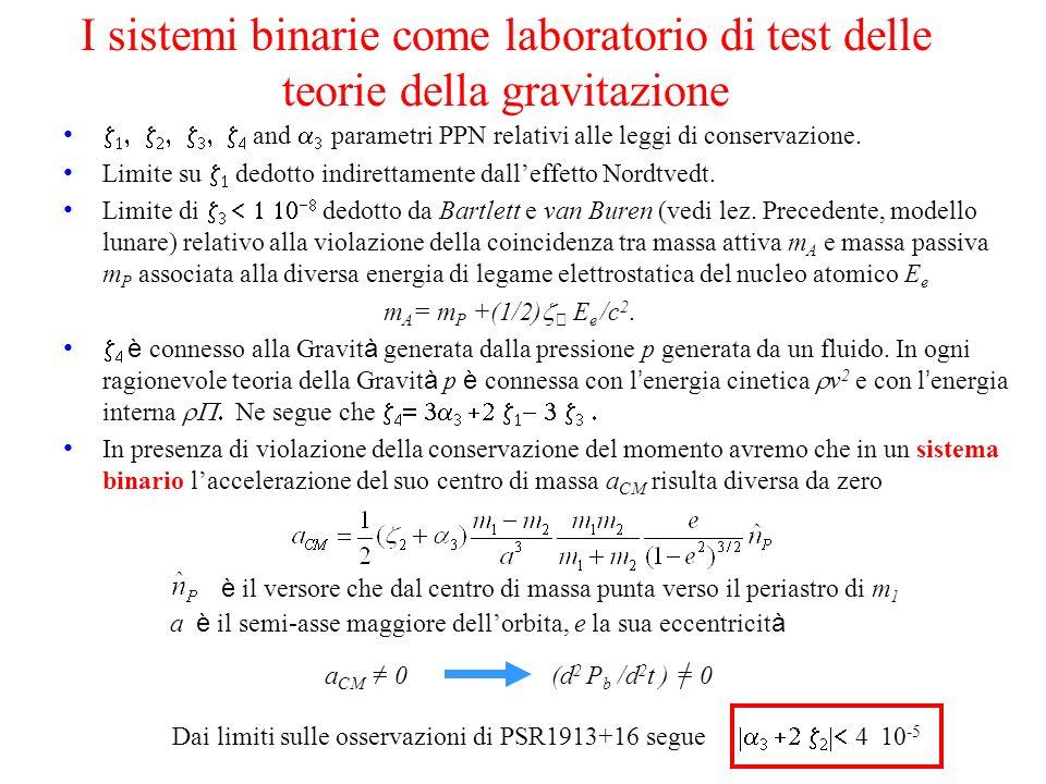 I sistemi binarie come laboratorio di test delle teorie della gravitazione and parametri PPN relativi alle leggi di conservazione. Limite su dedotto i