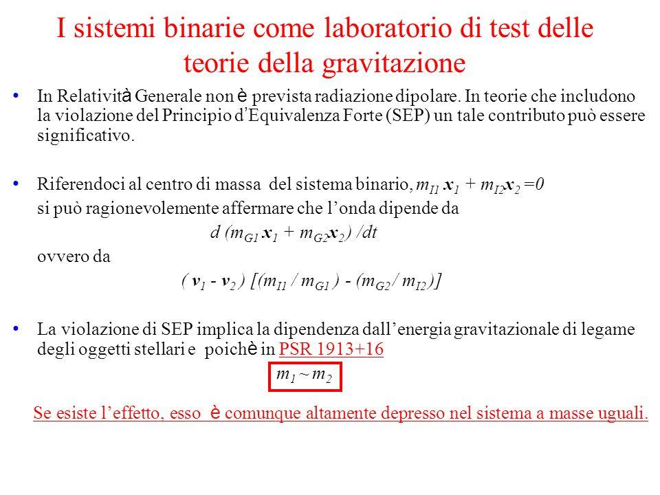 I sistemi binarie come laboratorio di test delle teorie della gravitazione In Relativit à Generale non è prevista radiazione dipolare. In teorie che i