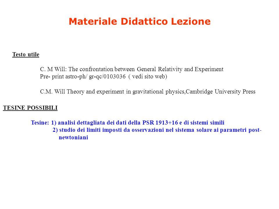 Materiale Didattico Lezione Testo utile C. M Will: The confrontation between General Relativity and Experiment Pre- print astro-ph/ gr-qc/0103036 ( ve