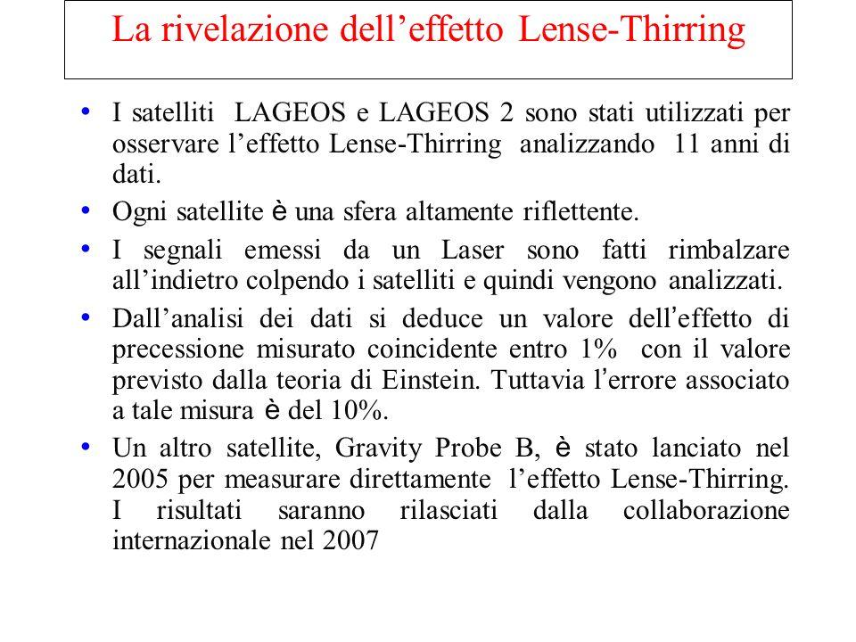 La rivelazione delleffetto Lense-Thirring I satelliti LAGEOS e LAGEOS 2 sono stati utilizzati per osservare leffetto Lense-Thirring a analizzando 11 a