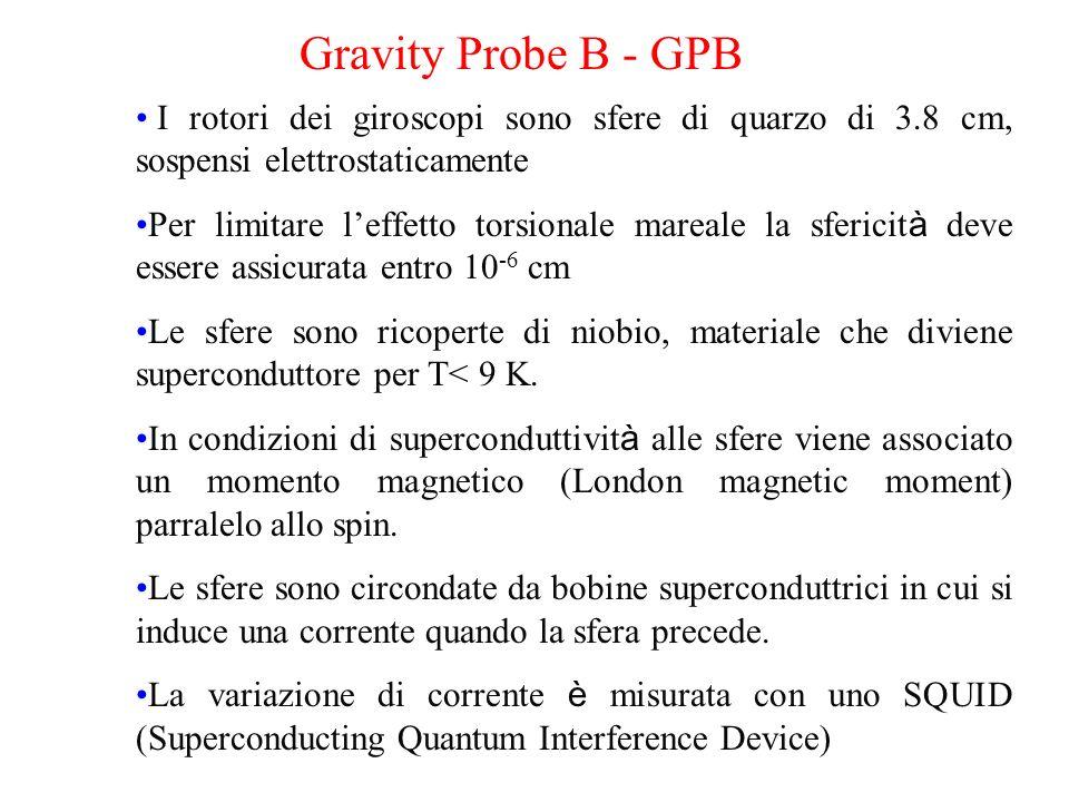 Gravity Probe B - GPB I rotori dei giroscopi sono sfere di quarzo di 3.8 cm, sospensi elettrostaticamente Per limitare leffetto torsionale mareale la