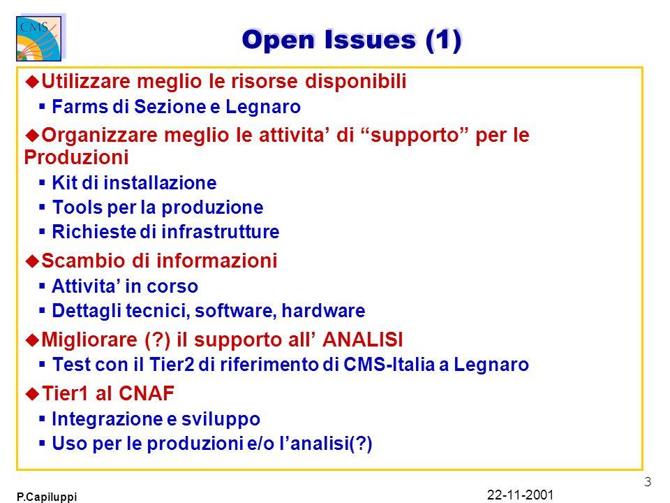 3 P.Capiluppi 22-11-2001 Open Issues (1) u Utilizzare meglio le risorse disponibili Farms di Sezione e Legnaro u Organizzare meglio le attivita di sup