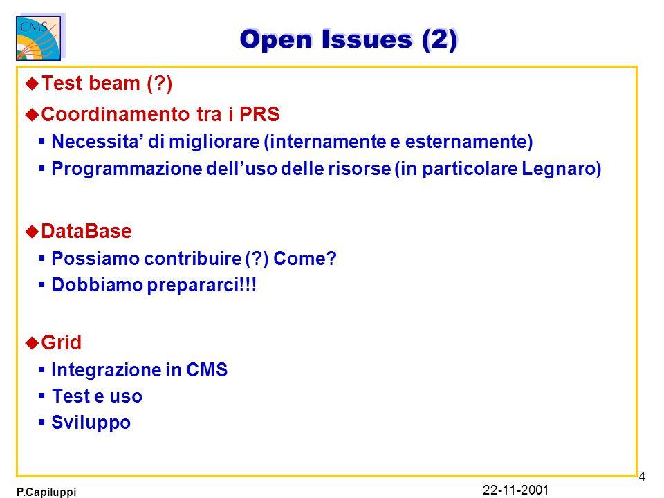 4 P.Capiluppi 22-11-2001 Open Issues (2) u Test beam (?) u Coordinamento tra i PRS Necessita di migliorare (internamente e esternamente) Programmazion