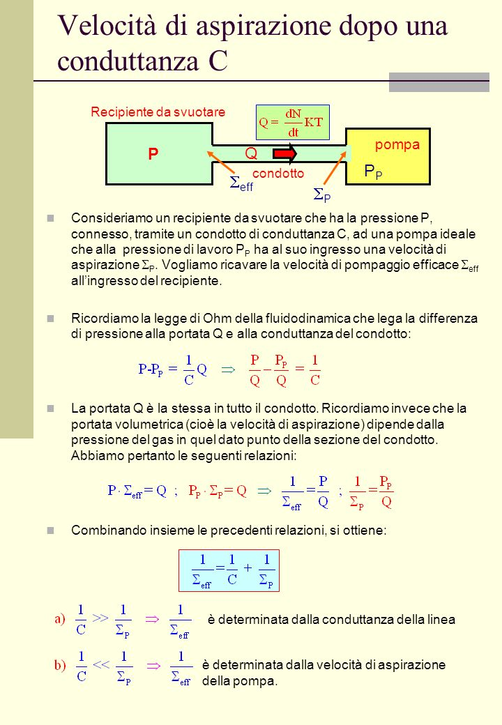 Velocità di aspirazione dopo una conduttanza C Consideriamo un recipiente da svuotare che ha la pressione P, connesso, tramite un condotto di condutta