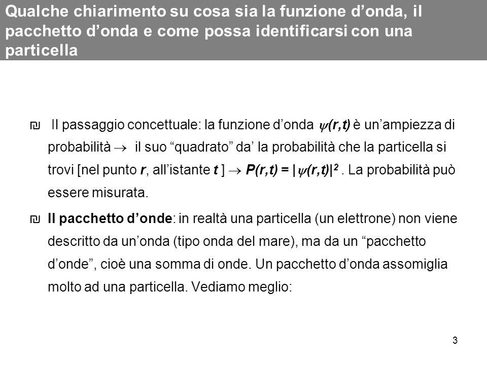 3 Qualche chiarimento su cosa sia la funzione donda, il pacchetto donda e come possa identificarsi con una particella Il passaggio concettuale: la fun