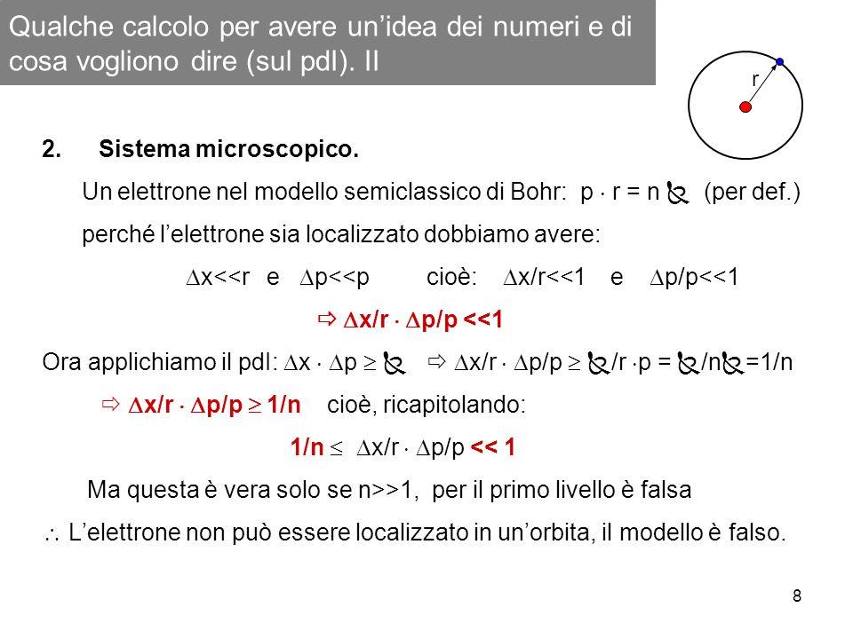 8 Qualche calcolo per avere unidea dei numeri e di cosa vogliono dire (sul pdI). II 2.Sistema microscopico. Un elettrone nel modello semiclassico di B