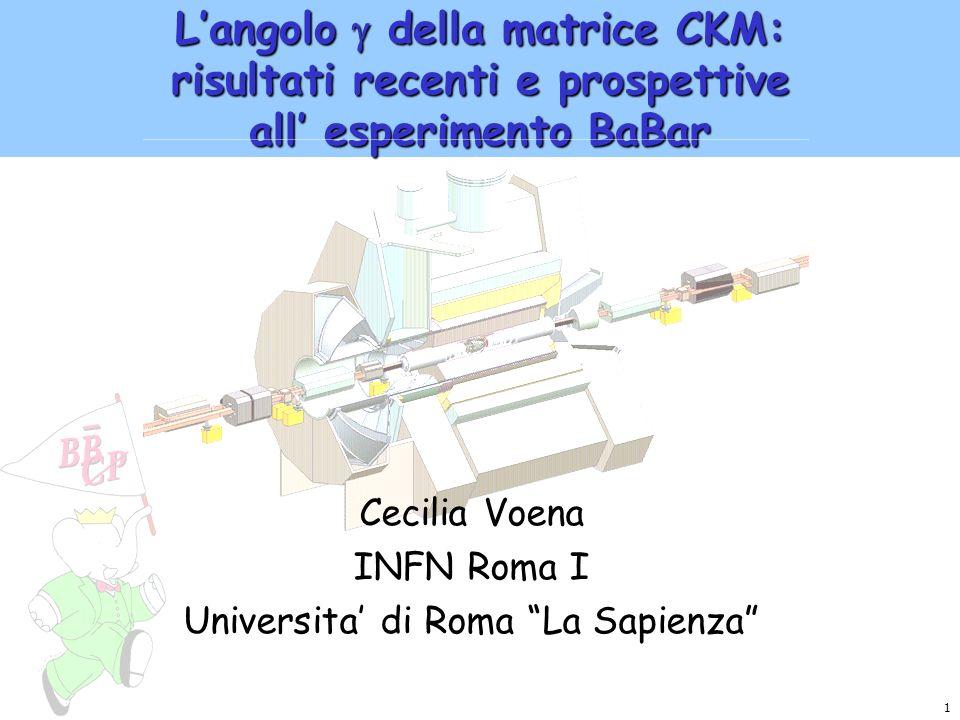 2 La violazione di CP nel Modello Standard La matrice CKM (unitaria): CP Il triangolo unitario: = arg(- V ud V ub * ) V cd V cb * ) contiene V ub = 0.736 0.049