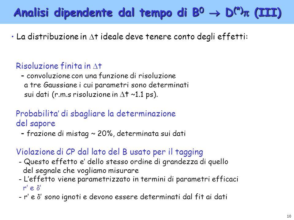 10 Analisi dipendente dal tempo di B 0 D (*) (III) La distribuzione in t ideale deve tenere conto degli effetti: Risoluzione finita in t - convoluzion