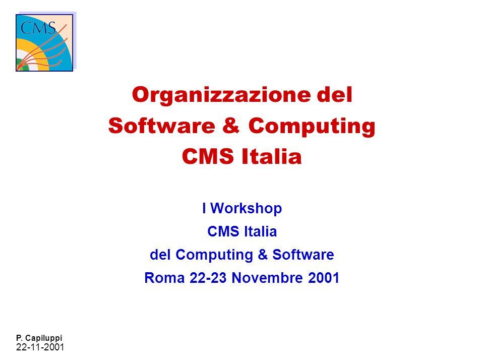 22-11-2001 P. Capiluppi Organizzazione del Software & Computing CMS Italia I Workshop CMS Italia del Computing & Software Roma 22-23 Novembre 2001