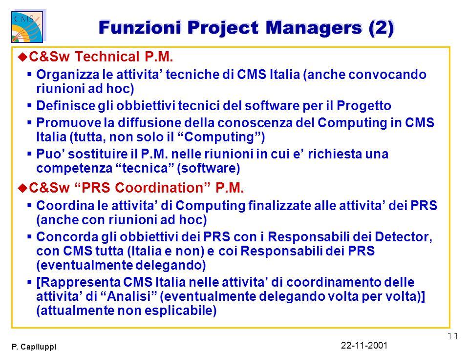 11 P. Capiluppi 22-11-2001 u C&Sw Technical P.M. Organizza le attivita tecniche di CMS Italia (anche convocando riunioni ad hoc) Definisce gli obbiett