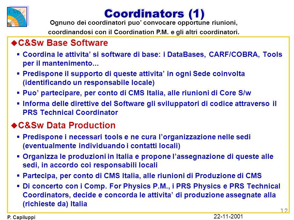 12 P. Capiluppi 22-11-2001 Coordinators (1) u C&Sw Base Software Coordina le attivita si software di base: i DataBases, CARF/COBRA, Tools per il mante
