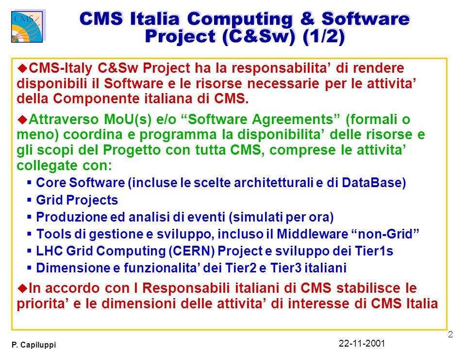 2 P. Capiluppi 22-11-2001 CMS Italia Computing & Software Project (C&Sw) (1/2) u CMS-Italy C&Sw Project ha la responsabilita di rendere disponibili il