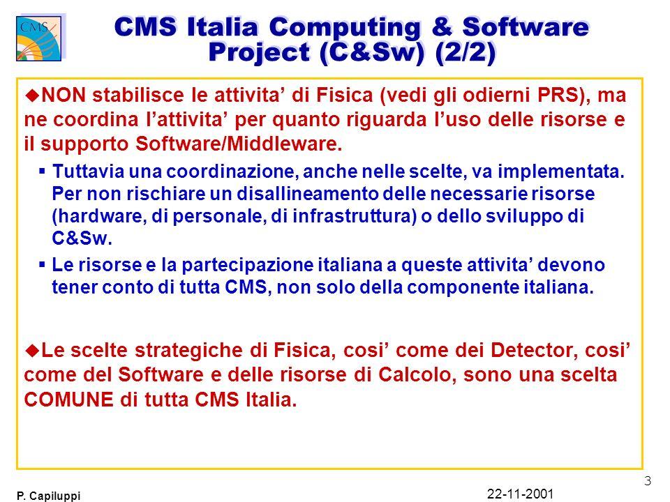 3 P. Capiluppi 22-11-2001 CMS Italia Computing & Software Project (C&Sw) (2/2) u NON stabilisce le attivita di Fisica (vedi gli odierni PRS), ma ne co