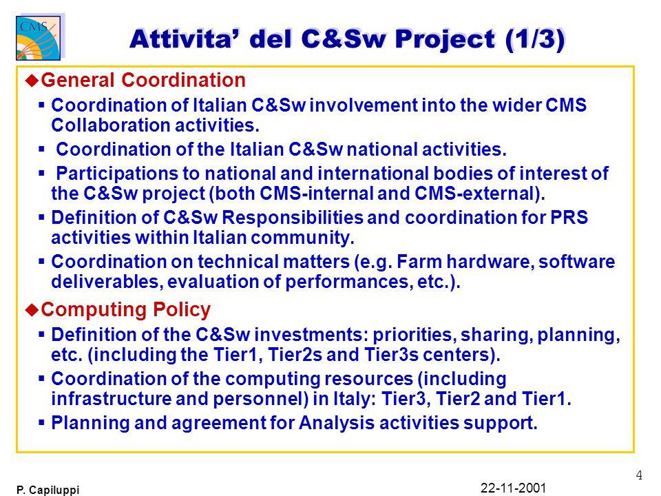 4 P. Capiluppi 22-11-2001 Attivita del C&Sw Project (1/3) u General Coordination Coordination of Italian C&Sw involvement into the wider CMS Collabora