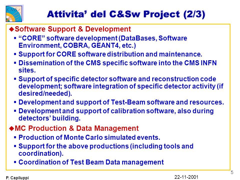 5 P. Capiluppi 22-11-2001 Attivita del C&Sw Project (2/3) u Software Support & Development CORE software development (DataBases, Software Environment,