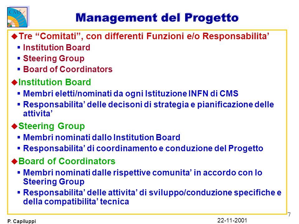 7 P. Capiluppi 22-11-2001 Management del Progetto u Tre Comitati, con differenti Funzioni e/o Responsabilita Institution Board Steering Group Board of
