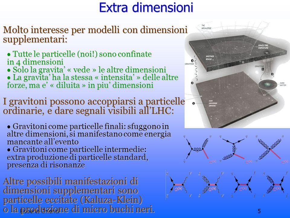 Roberto Chierici5 Extra dimensioni Molto interesse per modelli con dimensioni supplementari: Tutte le particelle (noi!) sono confinate Tutte le particelle (noi!) sono confinate in 4 dimensioni in 4 dimensioni Solo la gravita « vede » le altre dimensioni Solo la gravita « vede » le altre dimensioni La gravita ha la stessa « intensita » delle altre La gravita ha la stessa « intensita » delle altre forze, ma e « diluita » in piu dimensioni forze, ma e « diluita » in piu dimensioni I gravitoni possono accoppiarsi a particelle ordinarie, e dare segnali visibili allLHC: Gravitoni come particelle finali: sfuggono in Gravitoni come particelle finali: sfuggono in altre dimensioni, si manifestano come energia altre dimensioni, si manifestano come energia mancante allevento mancante allevento Gravitoni come particelle intermedie: Gravitoni come particelle intermedie: extra produzione di particelle standard, extra produzione di particelle standard, presenza di risonanze presenza di risonanze Altre possibili manifestazioni di dimensioni supplementari sono particelle eccitate (Kaluza-Klein) o la produzione di micro buchi neri.