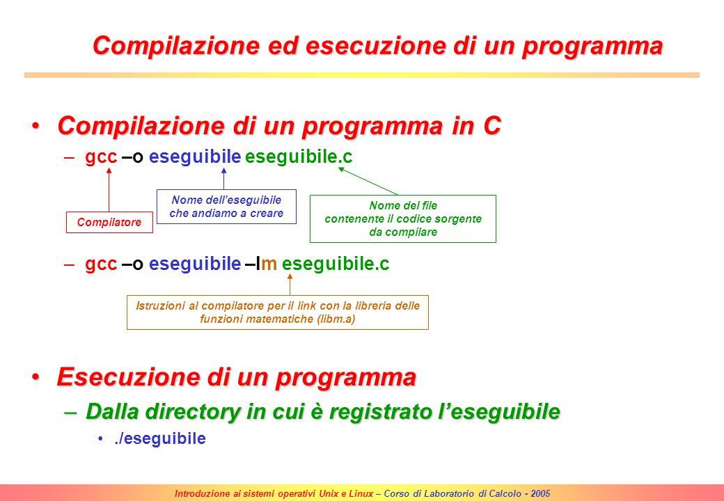 Introduzione ai sistemi operativi Unix e Linux – Corso di Laboratorio di Calcolo - 2005 Editor di testo EmacsEmacs –Avvio del programma >emacs |RETURN