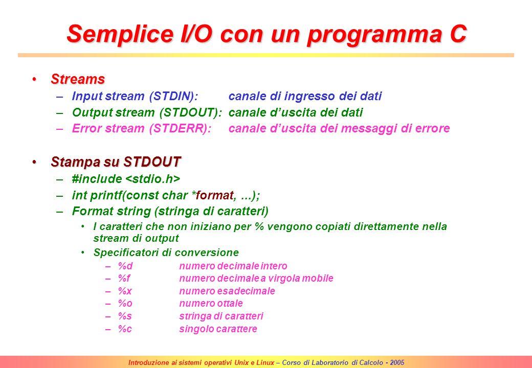 Introduzione ai sistemi operativi Unix e Linux – Corso di Laboratorio di Calcolo - 2005 Compilazione ed esecuzione di un programma Compilazione di un