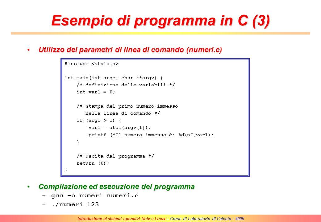 Introduzione ai sistemi operativi Unix e Linux – Corso di Laboratorio di Calcolo - 2005 Conversione di un numero intero da notazione decimale a notazi