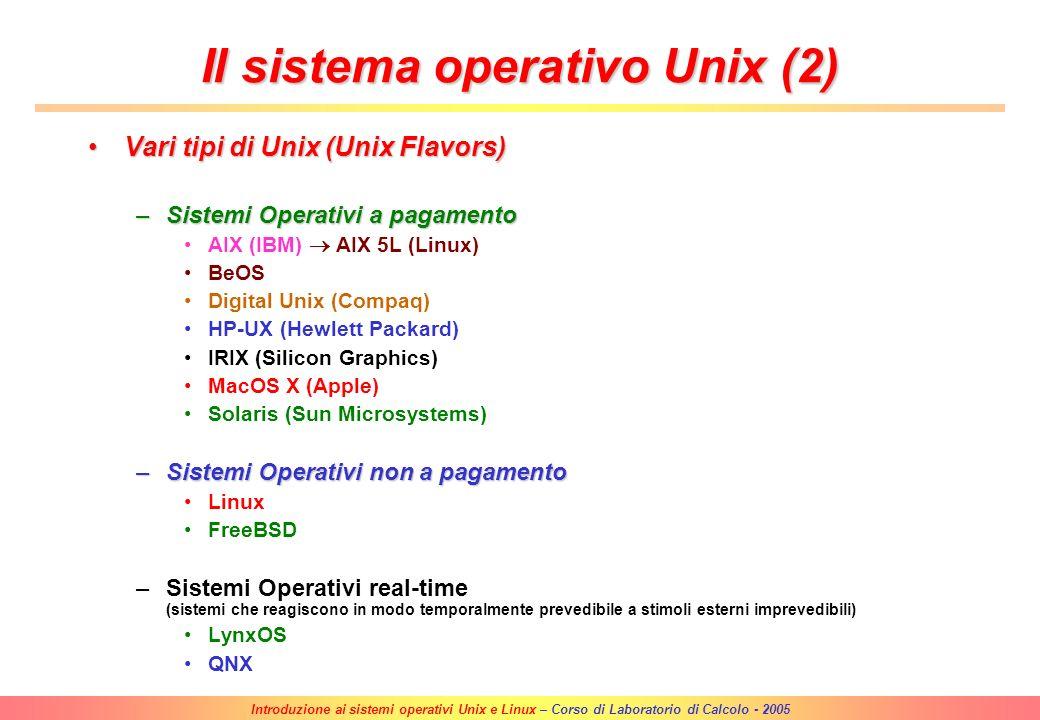 Introduzione ai sistemi operativi Unix e Linux – Corso di Laboratorio di Calcolo - 2005 Il sistema operativo Unix UNIX nasce il 1-1-1971 dalle ceneri