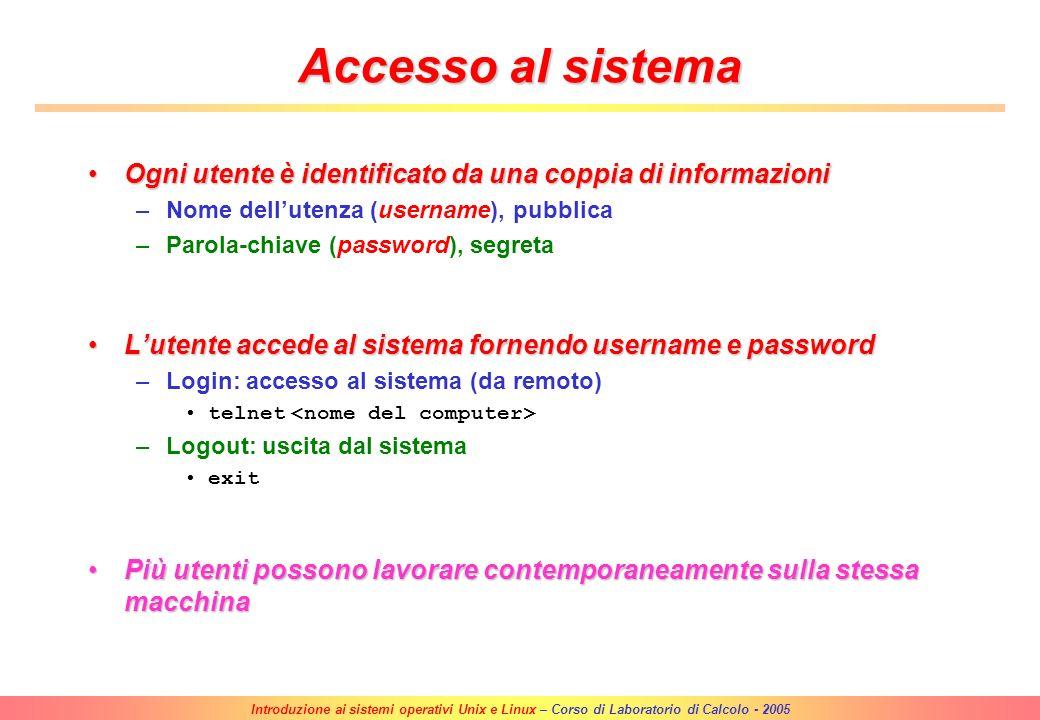 Introduzione ai sistemi operativi Unix e Linux – Corso di Laboratorio di Calcolo - 2005 Parte II Come lavorare in ambiente UNIX