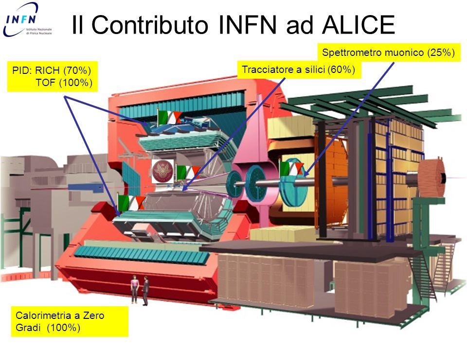 PID: RICH (70%) TOF (100%) Tracciatore a silici (60%) Spettrometro muonico (25%) Il Contributo INFN ad ALICE Calorimetria a Zero Gradi (100%)