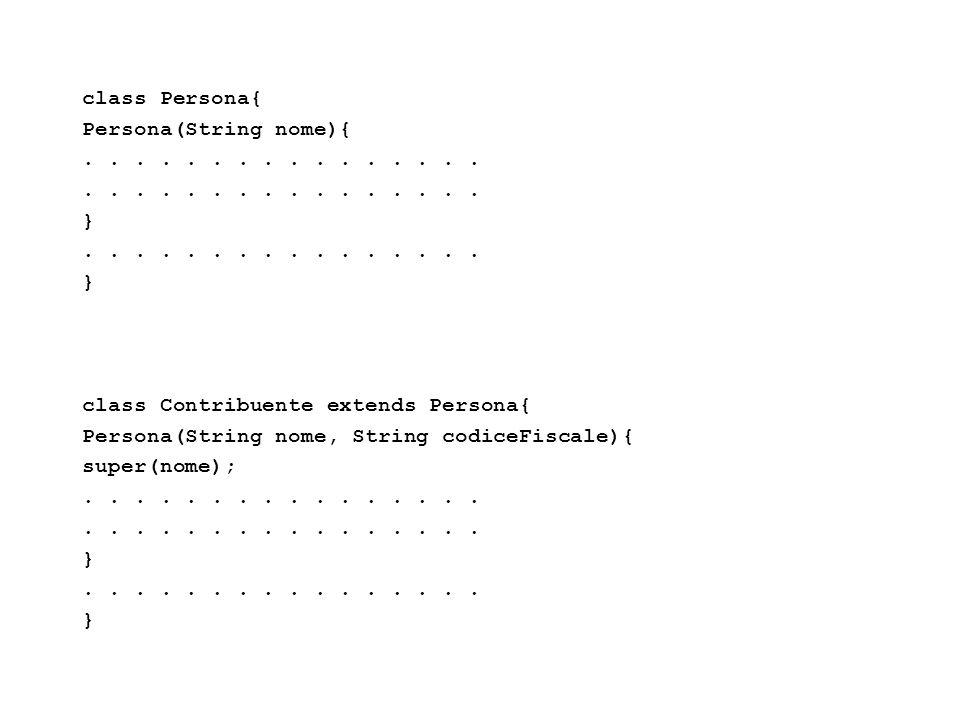Fisica Computazionale I - 415 class Persona{ Persona(String nome){........ }........ } class Contribuente extends Persona{ Persona(String nome, String