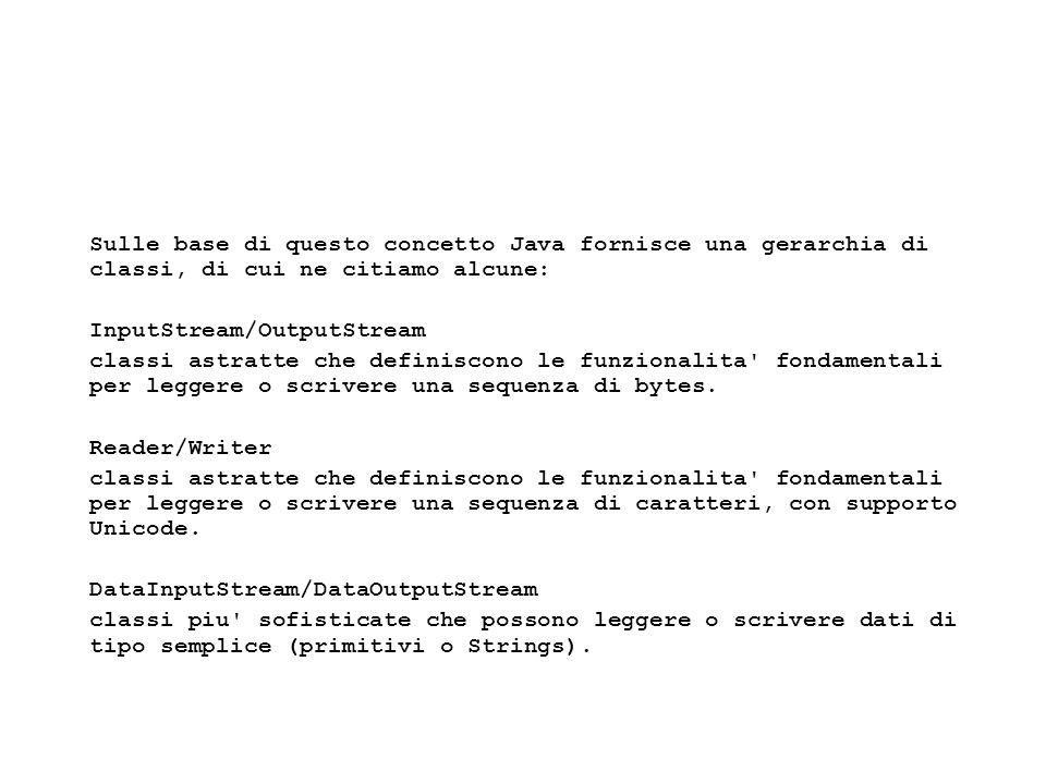 Fisica Computazionale I - 514 Scrittura di un file import java.io.*; /* Scrive su un file */ public class Scrivi{ public static void main(String args[]){ try{ File out = new File( prova-out.txt ); FileWriter fw = new FileWriter(out); PrintWriter pw = new PrintWriter(fw); pw.println( Sto scrivendo sul file prova.txt ); fw.close(); }catch(Exception xx){} }