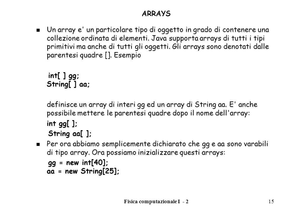 Fisica computazionale I - 215 ARRAYS Un array e' un particolare tipo di oggetto in grado di contenere una collezione ordinata di elementi. Java suppor