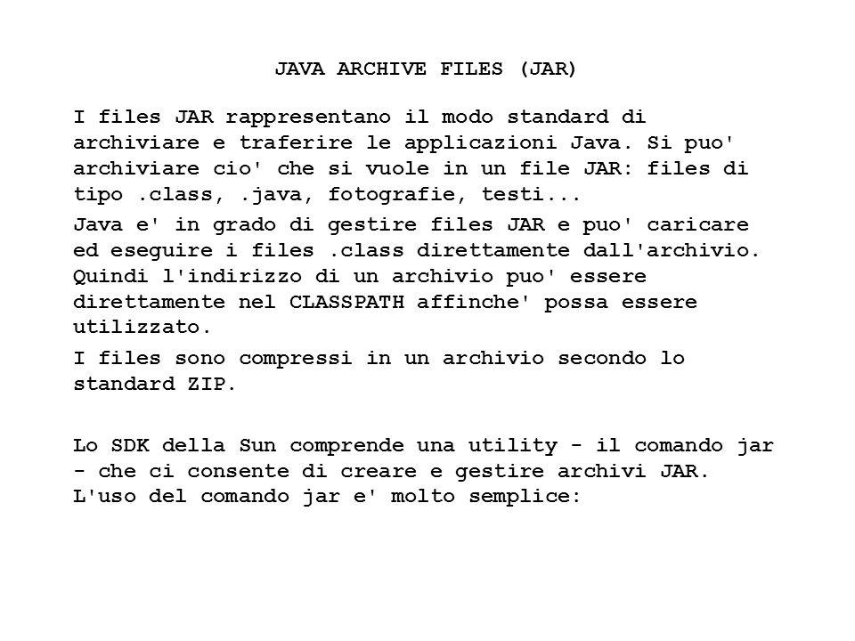 Fisica Computazionale I - 317 JAVA ARCHIVE FILES (JAR) I files JAR rappresentano il modo standard di archiviare e traferire le applicazioni Java. Si p
